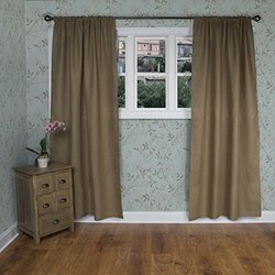 Rizzy Home Linen Window Panel, 50 by 96-Inch, Khaki/Khaki