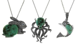 Sterling Silver Genuine Turquoise & Marcasite Octopus Pendant