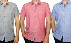 Harve Benard Men's Linen Cotton Shirts: White/xl