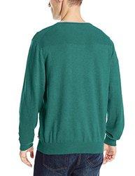 IZOD Men's Fine Gauge V-Neck Sweater with Link Stitch Yoke - Green - Large