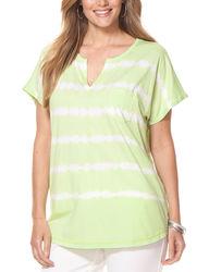 Chaps Women's Plus Size Tie-Dyed Cotton Top - Navy - Size: 3X