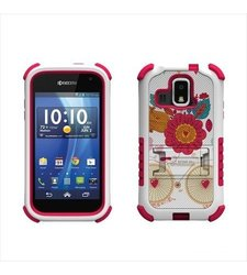 Beyond Cell Tri-Shield Durable Hybrid Hard Shell and Silicone Case for Kyocera Hydro XTRM C6721 - Bird of Paradise - Retail Packaging - White/Pink/Bird of Paradise