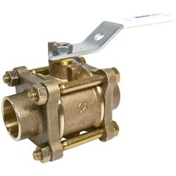 """NIBCO S-595Y-66-LF Silicon Bronze Lead-Free Ball Valve, Stainless Steel Trim, Three-Piece, Lever Handle, 1-1/2"""" Female Solder Cup"""