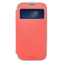 TryIt S-View Flip Cover Folio Case for Samsung Galaxy S4 - Coral Pink