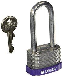 Brady 123251 Purple Key Retaining Steel Padlock, Black