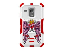 Beyond Cell Tri-Shield Durable Hybrid Hard Shell and Silicone Gel Case for Motorola Moto G XT1032 - Retail Packaging - White/Red