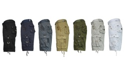 Mens Galaxy by Harvic Vintage Distressed Cargo Shorts - Olive - Size: 36