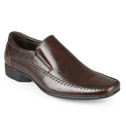Vance Men's Square Toe Faux Leather Slip-on Loafers - Brown - 8.5 B(M) US