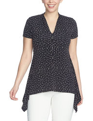 Chaus Women's Dot Print Sharkbite Knit Top - Black/White - Size: Medium