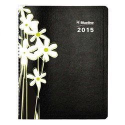 Blueline 2015 Silkscreened Weekly/Monthly Planner, Black, 11 X 8.5 Inches (C955.04-15)