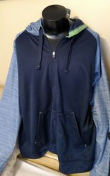 Spalding Men's Space-Dye Zip Hooded Sweatshirt - Blue - Size: Large