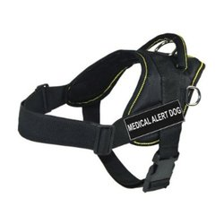 DT Fun Works Harness, Medical Alert Dog, Black With Yellow Trim, Large - Fits Girth Size: 32-Inch to 42-Inch