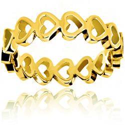 West Coast Jewelry women's Gold Plated SS Open Heart Eternity Ring - Sz-6