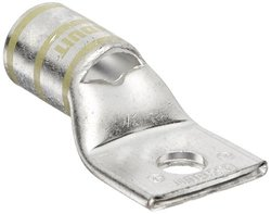 """Panduit LCAS250-38-X Code Conductor Lug, One Hole, Short Barrel With Window, 250kcmil Copper Conductor Size, 3/8"""" Stud Hole Size, Yellow Color Code, 0.14"""" Tongue Thickness, 1.17"""" Tongue Width, 1.03"""" Neck Length, 2.32"""" Overall Length"""