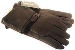 Napa Classic Motorcycle Style Deerskin Leather Gloves with Thinsulate Lining (Black, X-Small)