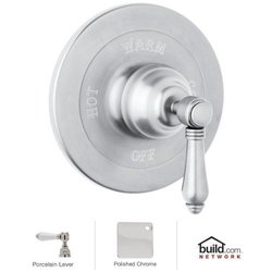 Rohl Bath Shower Valve Trim with Porcelain Lever Han - Polished Chrome