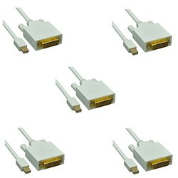 C & E Display Port to DVI Male Adapter Cable for Apple Laptops Pack of 5