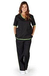 Natural Uniforms Women's Contrast Scrub Set - Black//Lime Green - Size: XL