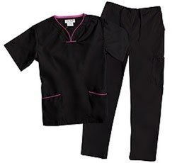 Natural Uniforms Women's Contrast Trim Scallop Scrub Set - Black - Size:XS