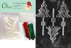 Cybrtrayd 45stK50C-C097 Tree Lolly Christmas Chocolate Mold with Lollipop Kit and Molding Instructions, Includes 50 Lollipop Sticks, 50 Cello Bags, 25 Red and 25 Green Twist Ties