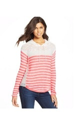 Women's Junior's It's Our Time Striped Hooded Sweater - Orange - Size: XL
