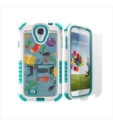 Beyond Cell Tri-Shield Durable Hybrid Hard Shell and Silicone Gel Case for Samsung Galaxy S4 - Retail Packaging - White/Light Blue