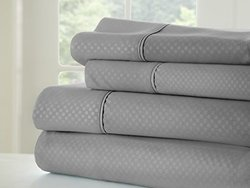 ienjoy Home 4 Piece Home Collection Premium Embossed Checker Design Bed Sheet Set, Full, Gray