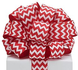 "Burton 1 1/2""w X 20 #9 Wired Satin Ribbon - Red / White /Chevron"
