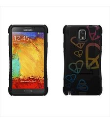 Beyond Cell Tri-Shield Durable Hybrid Hard Shell and Silicone Skin Gel Case for Samsung Galaxy Note 3 - Retail Packaging - Black/Black/Rainbow Hearts