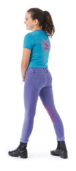 Ovation Kids Pull On Horseshoe Jean Breeches - Storm/Light Blue - Size: L