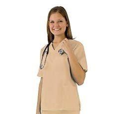 Women's Scrub Set - Medical Scrub Top and Pant - Khaki - Size: Small