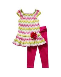 Youngland Chevron Top & Leggings Set - Girls 4-6x Pink Green