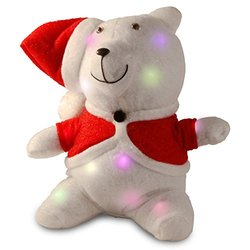 "National Tree 13"" Cotton Red Bear with 13 Flashing LED Lights with Battery"
