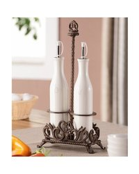Classic Oil and Vinegar Bottle Set - Aluminum And Ceramic - White