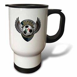 3dRose Mexico Soccer Ball with Crest Team Football Mexican Travel Mug, 14-Ounce