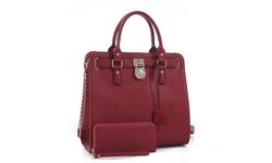 MKII Women's Nikki Satchel Handbag and Wallet Set - Burgundy