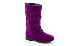 Coco Jumbo Girl's Limor-2 Riding Fringe Boots - Purple - Size: 4