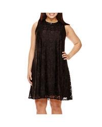 Katherine H Women's Sleeveless Lace Dress w/ Pleather Trim - Black - Sz:22
