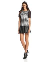 BCBGeneration Women's Mini Dress with Peplum Ruffle - Black/Combo -Size: 8