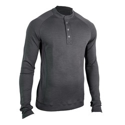 Showers Pass Men's Bamboo Merino Sport Henley Shirt - Grey - Size: Small
