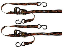 EK Ekcessories Ratshet Cat Flame Pattern Dual Safety Clip Tie Down - 2 Pk