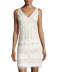 Adrianna Papell Women's V-Neck Beaded Cocktail Dress - Ivory - Size: 8