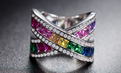 Sevil 18K White Gold Plated Rainbow Crystal X Ring - Size: 9