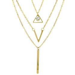 Vogue Fashion Women's 18KT Gold Plated Triangle V Bar Necklace