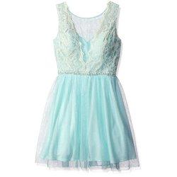 As U Wish Girls Juniors Lace & Pearl Short Prom Dress - Mint Angel / 11