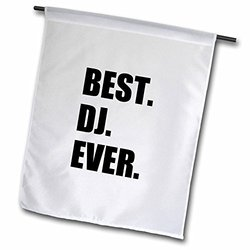 "3dRose fl_179774_2 ""Best Dj Ever - Fun Musical Job Pride Gifts For Music Deejay - Black"" Garden Flag, 18 x 27"""