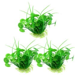 Uxcell 3-Piece Plastic Fish Tank Ornament Water Grass/Plant, 6-Inch, Green