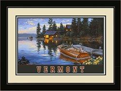 "Northwest Art Mall Vermont Chris Craft Boat Dock Print - 20""x26"""