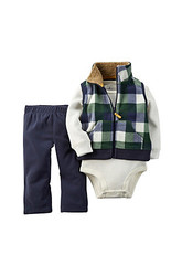 Carter's Baby Boys 3-Piece Vest Set Green Buffalo Check -  Size: 6M