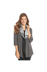 Notations  Petites' Solid Layered Look Knit Top Grey Heather